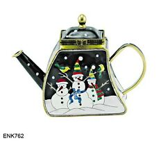 KELVIN CHEN Enamel Copper Hand paint Miniature Teapot Snowman Christmas Holiday