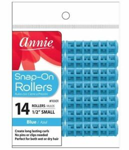 """Annie Small 1/2"""" Snap-On Rollers - No Pins or Clips Needed - Blue 14-Pack #1001"""