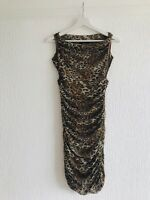LEOPARD RUCHED BODYCON DRESS 10 STRAPLESS PARTY CELEB TIGHT AX PARIS GLAM PRE