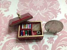 Dollhouse Miniature Vintage Burgundy Assortment of Sewing Thread Box Kit 1:12