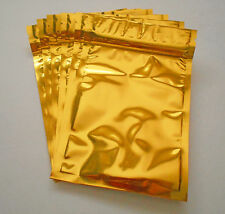 25 Gold (4x5) Aluminum/Foil Pouches Mylar Ziplock Bags, Food Safe, Smell Proof