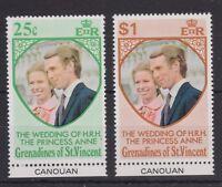 1973 Royal Wedding Princess Anne MNH Stamp Set Canouan Bottom Tab SG 1-2