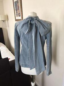 Stylish Unusual Denim Jacket Bow Decorated Size M