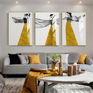 Modern Yellow Skirt Girl Painting Canvas Poster Nordic Home Wall Picture Decor