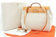 Auth HERMES Her Bag 2 in 1 Beige Canvas and Leather Hand Shoulder Bag #36378