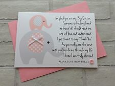 Personalised Big Sister Card: Cute Elephants (New Baby Congratulations Birthday)