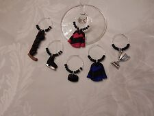 """""""Hockey' Set Of 6 Hand Crafted Wine Glass Charm Drink Markers"""