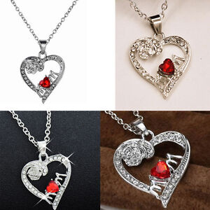 MUM Necklace Red Heart Crystal I Love You Xmas Gift For Her Mom Mother Daughter