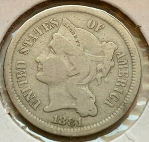 US 1881 Three 3 Cent Nickel Circulated Coin  (#D217)  Excellent condition