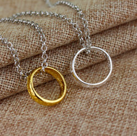 Lord of the Rings Hobbit One Ring Necklace - Gold & Silver - Elfish Inscription