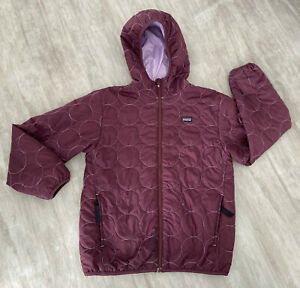 Girls Patagonia Hooded Jacket Reversible Purples Used No Size Tag-xl? See App. M