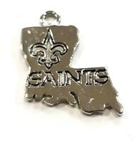 New Silver New Orleans Saints Louisiana state shaped Charm
