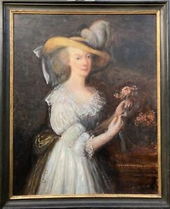 Impressionist Portrait Frau mit Hut Anonym um 1900 Ölgemälde 95,5 x 77,5 cm