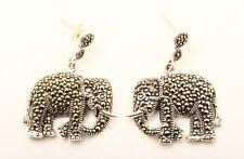 Elephants! Superior Handmade Jewelry Marcasite 925 Sterling Silver Earrings
