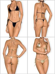 OBSESSIVE Bella Vista Luxury Triangle Micro Bikini Top and Matching Thong Set