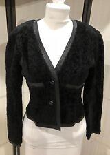 Chanel Womens Black Lambskin shearling Fur 2-Button Long-Sleeve Jacket Coat 42/8