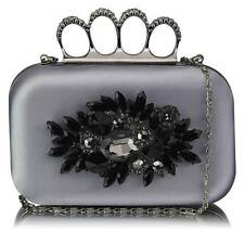 CLUTCH hand BAG diamante 178 WEDDING with chain knuckle rings jeweled silver