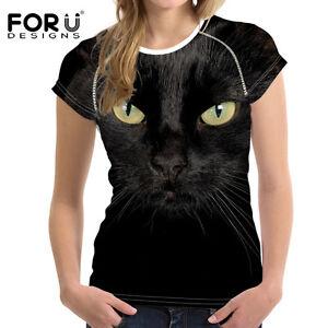 Black Cat T-Shirt Short Sleeve Shirt Women Crew Neck Summer Casual Tops Tee Soft