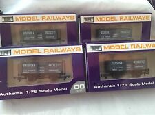 DAPOL 00 GAUGE RAKE OF 4x B655 ATKINSON & PRICKETT STEEL MINERAL WAGONS