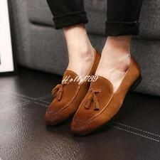 Men's Vintage Oxfords Suede Leather Slip On Loafer Dress Tassels Casual Shoes