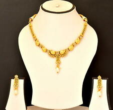 Plated Fashion Jewelry Set Hk70 Indian Ethnic Traditional Necklace Earring Gold