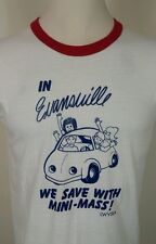 Vtg 70's 80's Russell Gold Label Thin Ringer T Shirt M Beetle Bug Micro Car Vw