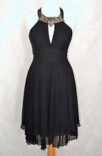 KAREN MILLEN Size 8 Stunning Black Silk Bead & Jewel Trim Halterneck Dress CLEAN