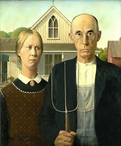 """American Gothic by Grant Wood, Giclee Canvas Print, 13""""x16"""""""