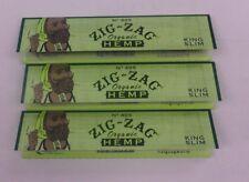 ZIG ZAG 100 MM KING SLIM ORGANIC HEMP CIGARETTE ROLLING PAPERS - 3 PACKS