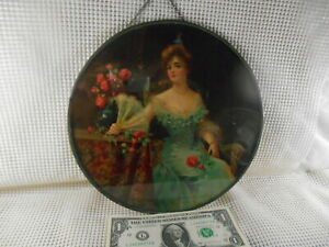 "Antique Flue Cover Chromolithograph PRETTY LADY Blue Dress & Fan PINK ROSES 9.5"""