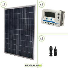 Kit solare 24V due pannelli 100W 200W regolatore di carica USB 10A Epsolar
