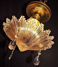 Antique Art Deco Snowflake Starburst 3 Chain Chandelier Ceiling Light Fixture