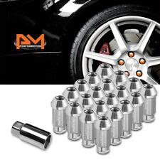 M12X1.25 Silver JDM Open-End Acorn Hex Wheel Lug Nuts+Extension 25mmx50mm 20Pc