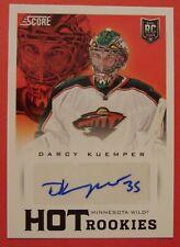 2013 14 Score Hot Rookies Darcy Kuemper Autograph Minnesota Wild