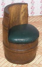 1:12 Scale A Single Green Leather Barrel Chair Dolls House Miniature Pub - Bar