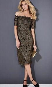 Kaleidoscope Black And Gold Bardot Dress Was £89 Size 20