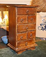 VTG ANTQ Primitive Wood 7 Drawer Spice Tea Apothecary Counter Cabinet Box 12.75""
