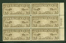 US #C8 15¢ Map, Plate No. Block of 6, og, NH, VF, Scott $50.00