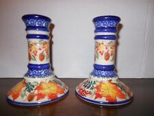 TWO UNIKAT CANDLESTICKS POLISH POTTERY  MADE IN POLAND