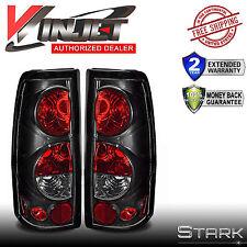 1999-2006 Silverado 99-03 Sierra Tail Lights Glossy Black Rear Lamps PAIR