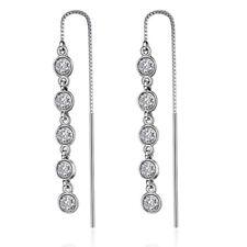 925 Sterling Silver CZ Long Tassel Dangle Earrings Women Fashion Jewelry