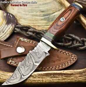 Rare Custom Hand Made Damascus Steel Blade Hunting Knife | Hard Wood
