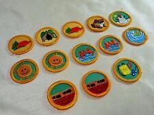 "13 Vintage Girl Scout Round Progressive Proficiency Badges, Yellow Gold  1-1/2"""