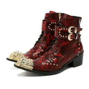 Punk Mens Rivet Metal Pointy Toe Leather Business High Heel Buckle Ankle Boots