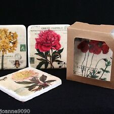 Gisela Graham Shabby Chic Vintage Flower Insects Ceramic Coasters Drinks Mats
