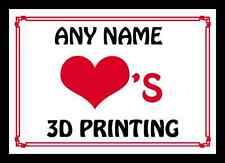 Love Heart 3D Printing Personalised Placemat