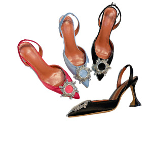 Hot Stylish Blogger Glass Amina Muaddi Replica Women's Sexy Crystal PVC Heel!
