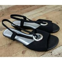 Jaclyn Smith Shoes Strappy Sandals Black Open Toed Twill Business Casual Size 10