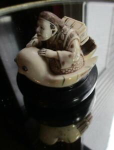 Antique Japanese Hand Made  Netsuke Merchant Riding Bird **Signed**