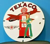 VINTAGE TEXACO GASOLINE PORCELAIN PIN UP GIRL WW2 AVIATION AIRPLANE SERVICE SIGN